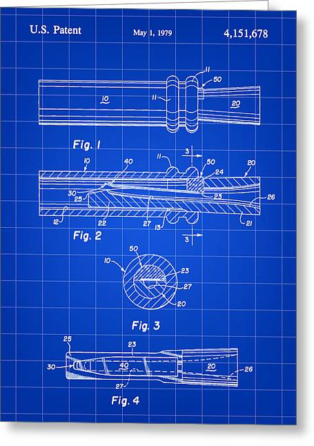 Duck Dynasty Greeting Cards - Duck Call Patent 1979 - Blue Greeting Card by Stephen Younts