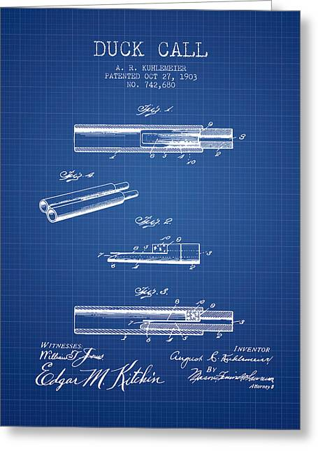 Duck Hunting Greeting Cards - Duck Call Patent from 1903 - Blueprint Greeting Card by Aged Pixel