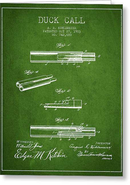 Duck Hunting Greeting Cards - Duck Call Patent from 1903 - Green Greeting Card by Aged Pixel