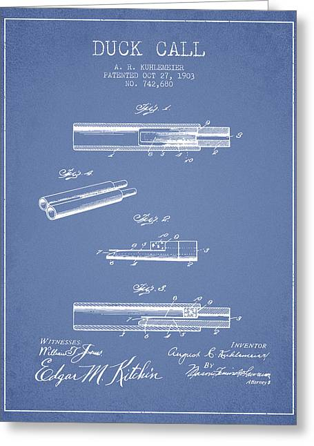 Duck Hunting Greeting Cards - Duck Call Patent from 1903 - Light Blue Greeting Card by Aged Pixel