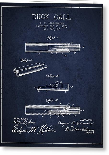 Duck Hunting Greeting Cards - Duck Call Patent from 1903 - Navy Blue Greeting Card by Aged Pixel