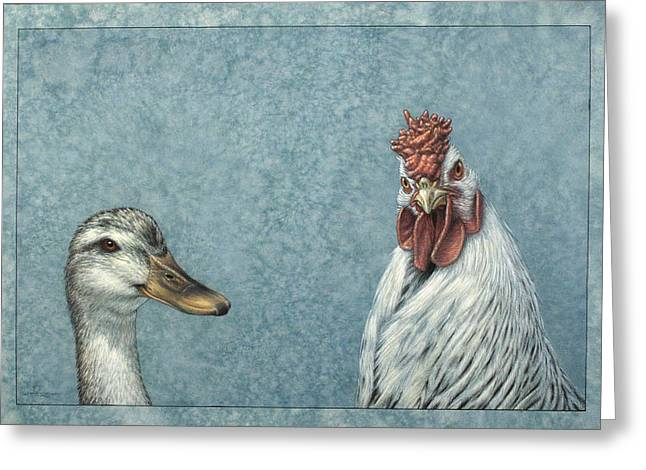 Blue-gray Greeting Cards - Duck Chicken Greeting Card by James W Johnson