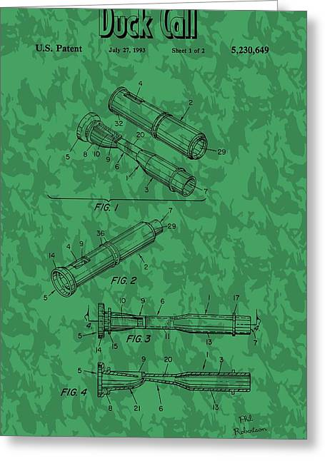 Duck Dynasty Greeting Cards - Duck Commander Duck Call Patent Greeting Card by Dan Sproul