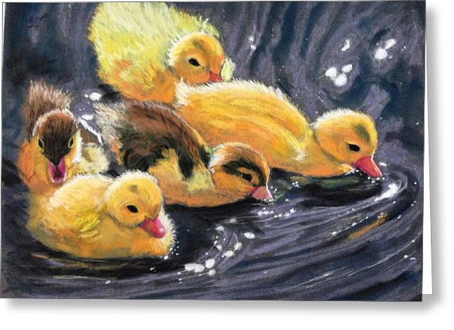 Ducklings Pastels Greeting Cards - Duck duck goose Greeting Card by Betsy Frahm