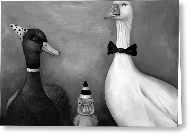 Nursery Rhyme Paintings Greeting Cards - Duck Duck Goose bw Greeting Card by Leah Saulnier The Painting Maniac