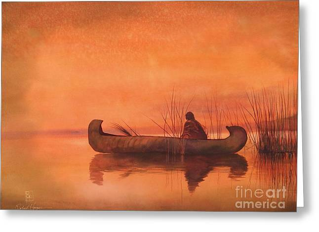 Canoe Greeting Cards - Duck Hunter Greeting Card by Robert Hooper