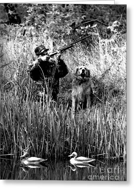 Dantzler Greeting Cards - Duck Hunter with his Dog  2 Greeting Card by Andrew Govan Dantzler