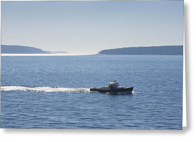 Acadia National Park Greeting Cards - Duck Islands -Lobster Boat - Acadia National Park - Maine Greeting Card by Keith Webber Jr