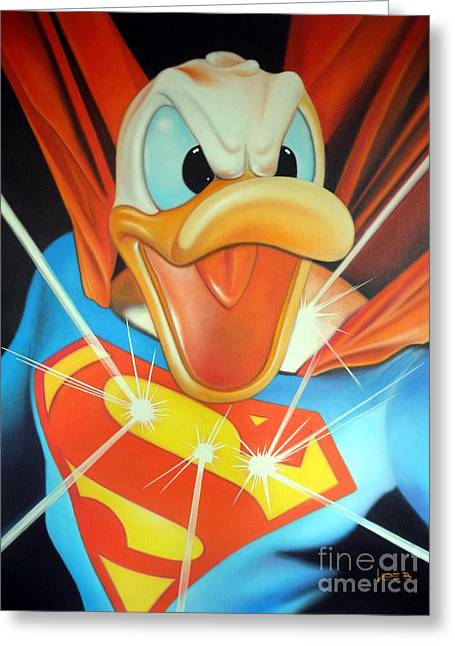 Funny Police Comic Greeting Cards - Duck Of Steel Greeting Card by Michael Loeb