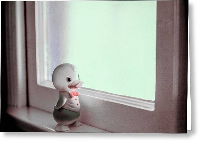 Rubber Ducky Greeting Cards - Duckie At The WIndow Greeting Card by Yo Pedro