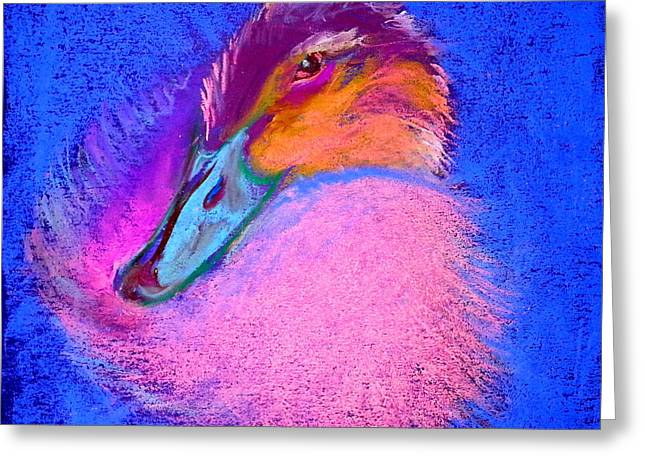 Whimsical. Greeting Cards - Duckling Pretty in pink Greeting Card by Sue Jacobi