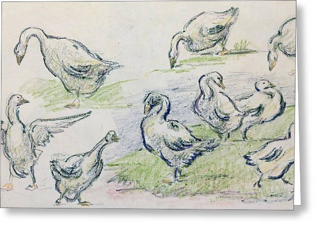 Canvas Pastels Greeting Cards - Ducks Greeting Card by Alfred Sisley