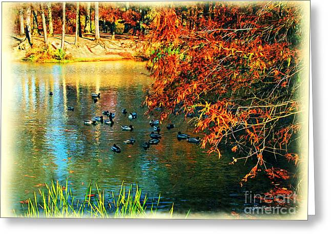Ducks At Hinckley Lake Boathouse Greeting Card by Joan  Minchak