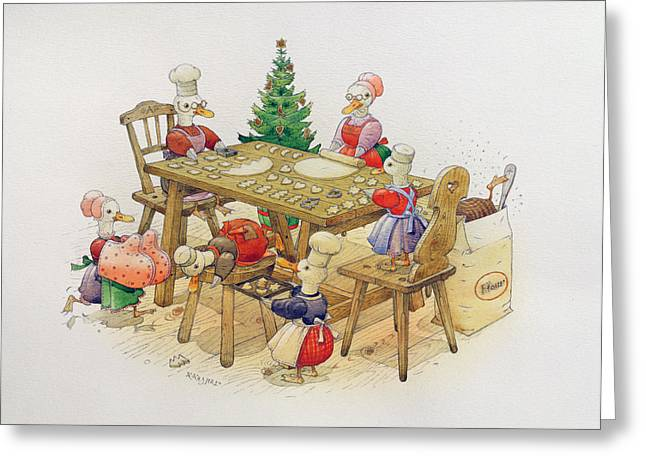 Cooking Greeting Cards - Ducks Christmas, 1999 Wc On Paper Greeting Card by Kestutis Kasparavicius