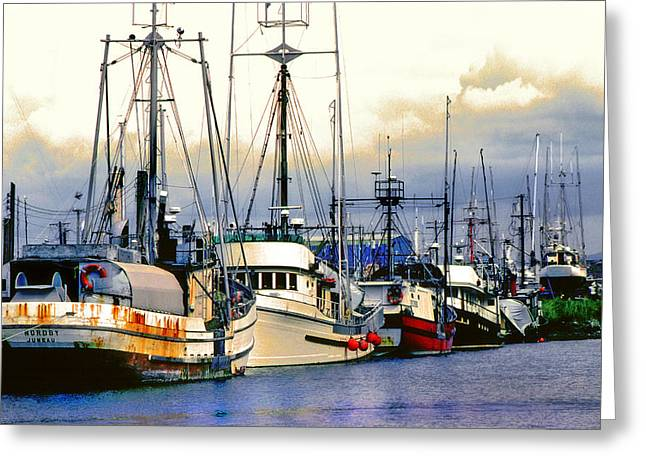 Recently Sold -  - Boats At Dock Greeting Cards - Ducks in a Row Greeting Card by Mike Flynn