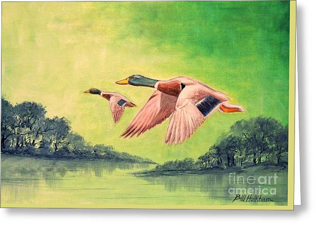 Duck Dynasty Greeting Cards - Ducks In Flight Greeting Card by Bill Holkham
