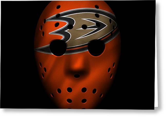 Hockey Greeting Cards - Ducks Jersey Mask Greeting Card by Joe Hamilton