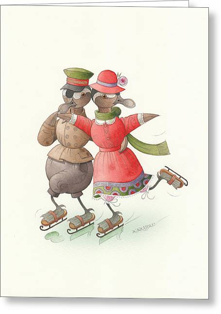 Ducks. Christmas Card. Greeting Card. Greeting Cards - Ducks on skates 01 Greeting Card by Kestutis Kasparavicius