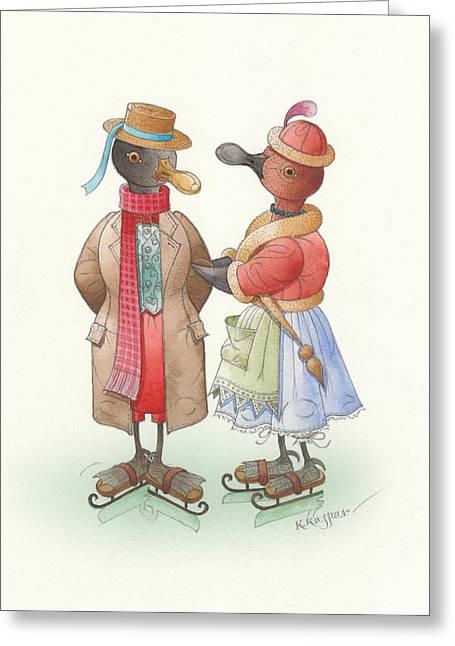Christmas Greeting Greeting Cards - Ducks on skates 04 Greeting Card by Kestutis Kasparavicius