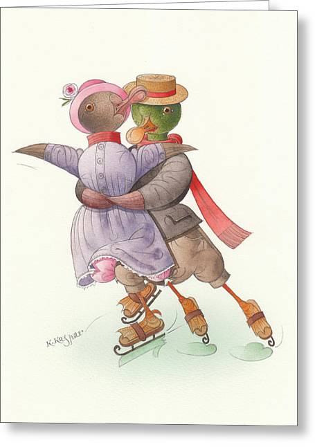 Ducks. Christmas Card. Greeting Card. Greeting Cards - Ducks on skates 05 Greeting Card by Kestutis Kasparavicius