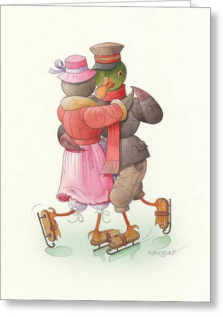 Skates Drawings Greeting Cards - Ducks on skates 09 Greeting Card by Kestutis Kasparavicius