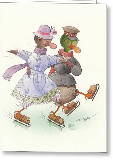 Ducks. Christmas Card. Greeting Card. Greeting Cards - Ducks on skates 10 Greeting Card by Kestutis Kasparavicius