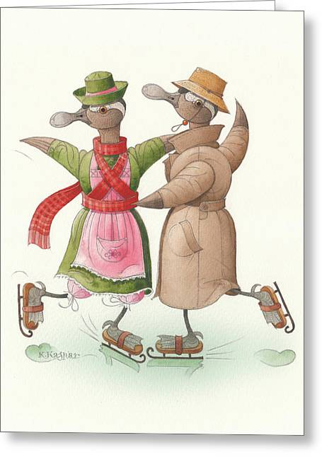 Ducks. Christmas Card. Greeting Card. Greeting Cards - Ducks on skates 11 Greeting Card by Kestutis Kasparavicius