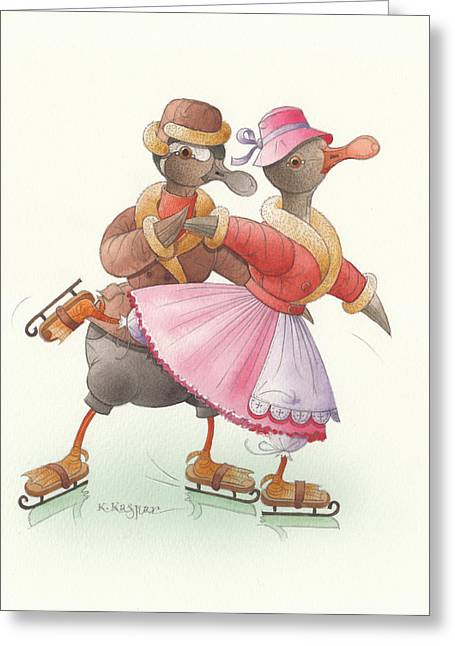 Skates Drawings Greeting Cards - Ducks on skates 12 Greeting Card by Kestutis Kasparavicius
