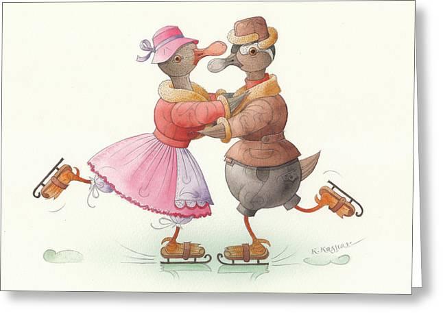 Skates Drawings Greeting Cards - Ducks on skates 13 Greeting Card by Kestutis Kasparavicius
