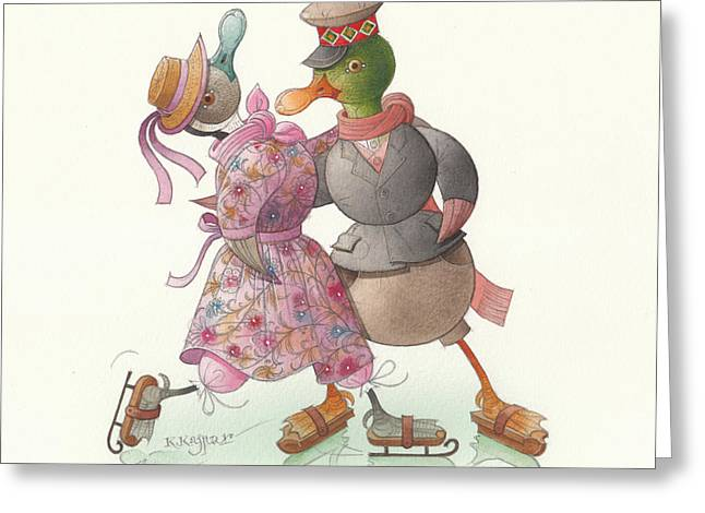 Ducks. Christmas Card. Greeting Card. Greeting Cards - Ducks on skates 14 Greeting Card by Kestutis Kasparavicius