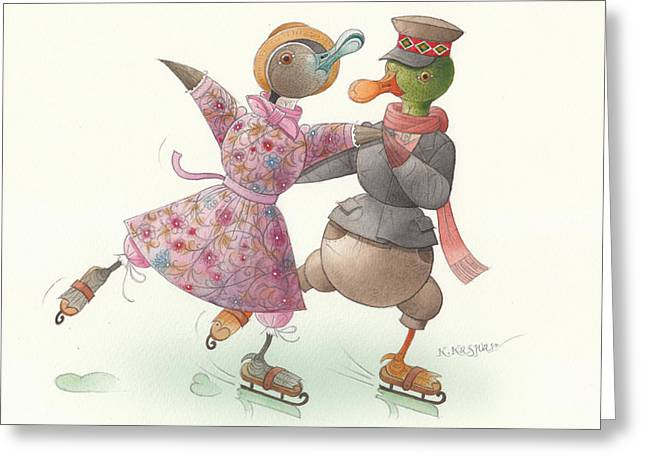 Ducks. Christmas Card. Greeting Card. Greeting Cards - Ducks on skates 16 Greeting Card by Kestutis Kasparavicius