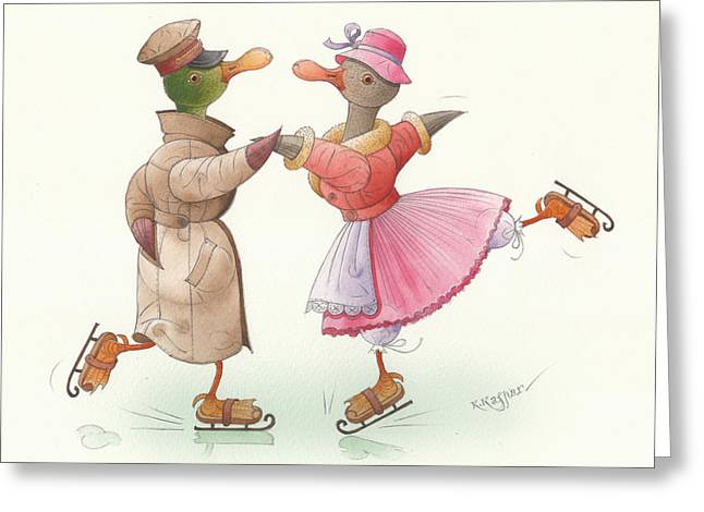 Ducks. Christmas Card. Greeting Card. Greeting Cards - Ducks on skates 17 Greeting Card by Kestutis Kasparavicius