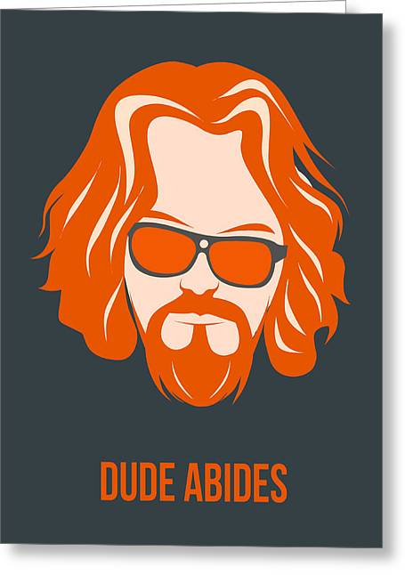 Big Mixed Media Greeting Cards - Dude Abides Orange Poster Greeting Card by Naxart Studio