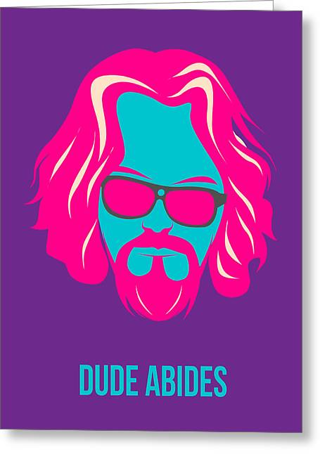 Lebowski Greeting Cards - Dude Abides Purple Poster Greeting Card by Naxart Studio