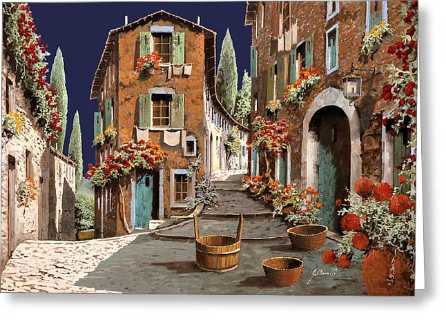 Pillow Paintings Greeting Cards - Due Strade Al Mattino Greeting Card by Guido Borelli