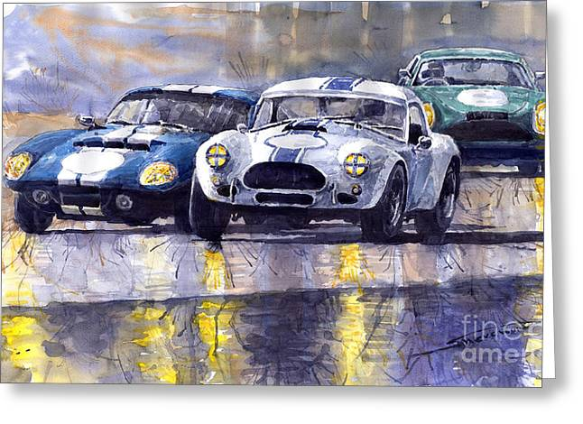 Shelby Greeting Cards - Duel AC Cobra and Shelby Daytona Coupe 1965 Greeting Card by Yuriy  Shevchuk