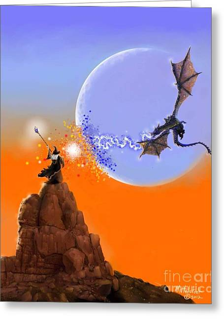 Rick Mittelstedt Greeting Cards - Duel In The Desert Greeting Card by Rick Mittelstedt
