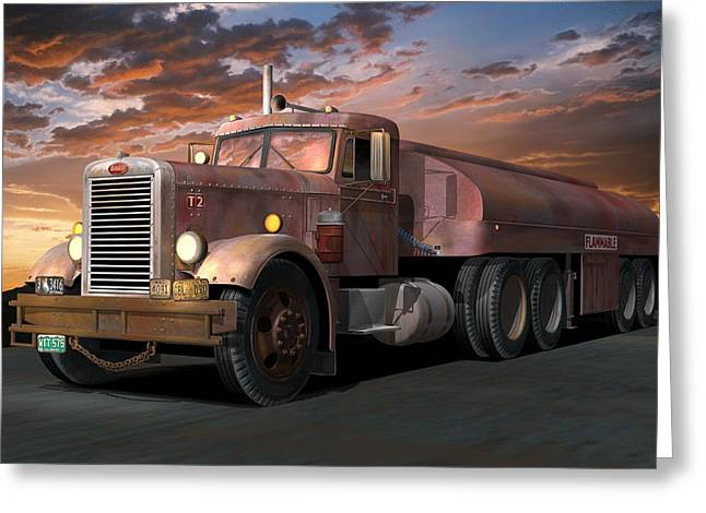Best Sellers -  - 1955 Movies Greeting Cards - Duel Truck with trailer Greeting Card by Stuart Swartz