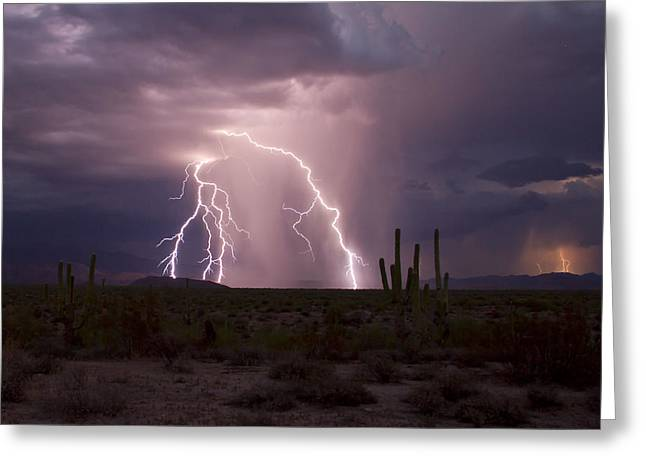Arizona Lightning Greeting Cards - Dueling Storms Greeting Card by Cathy Franklin