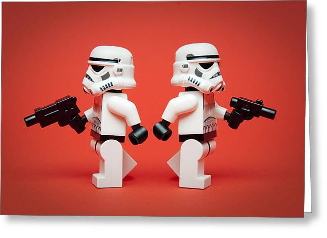 Recently Sold -  - Lego Greeting Cards - Dueling Troopers Greeting Card by Samuel Whitton