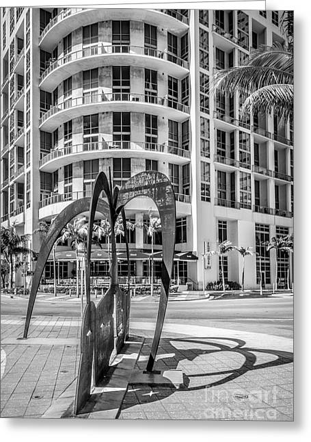 Owner Greeting Cards - Duenos do las Estrellas sculpture - Downtown - Miami - Black and White Greeting Card by Ian Monk