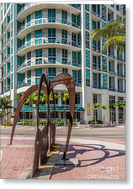 Owner Greeting Cards - Duenos do las Estrellas sculpture - Downtown - Miami Greeting Card by Ian Monk