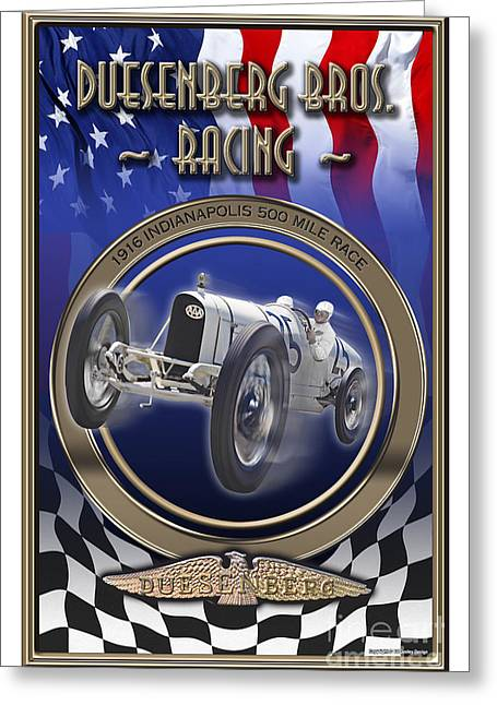 1916 Digital Greeting Cards - Duesenberg Bros. Racing Greeting Card by Ed Dooley