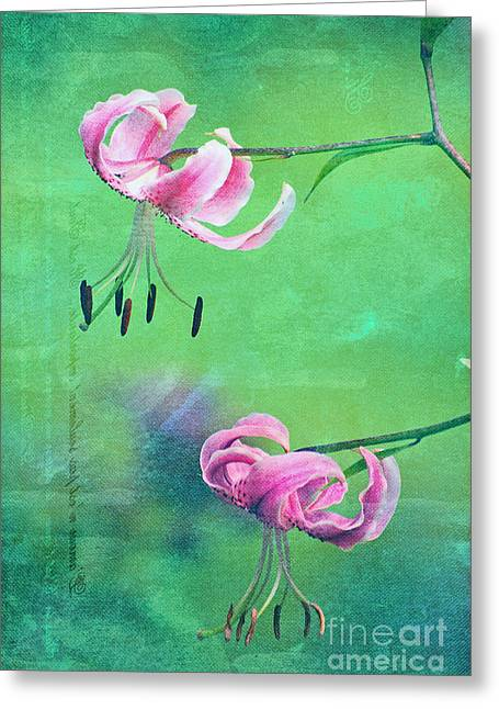 Textured Floral Greeting Cards - Duet - 9t01b Greeting Card by Variance Collections