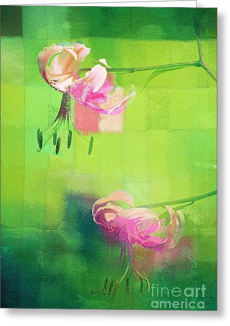 Textured Floral Greeting Cards - Duet - j052064173gr Greeting Card by Variance Collections
