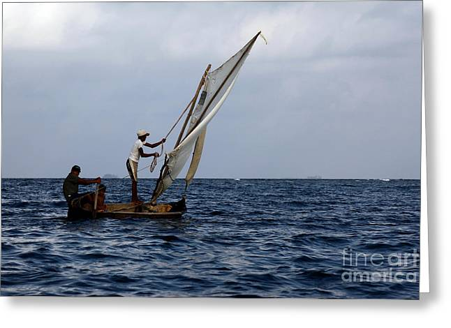 Dug Out Greeting Cards - Dugout Sailing Canoe San Blas Islands Panama Greeting Card by James Brunker