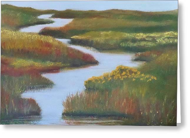 Wetlands Pastels Greeting Cards - Dugualla Bay Wetlands Greeting Card by Cathi Laferriere