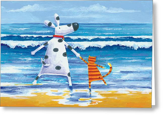 Animals Love Greeting Cards - Duke And Sweetpea Love Paddling Greeting Card by Peter Adderley