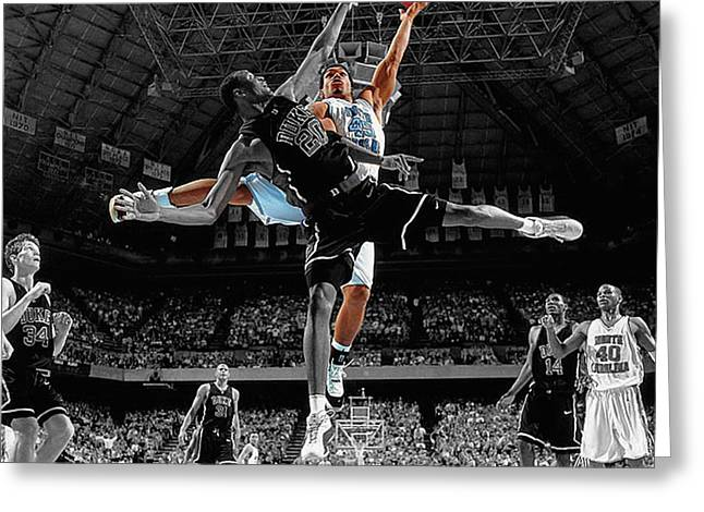 Hoops Mixed Media Greeting Cards - Duke and UNC Basketball Greeting Card by Brian Reaves