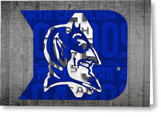 Duke Greeting Cards - Duke Blue Devils College Sports Team Retro Vintage Recycled North Carolina License Plate Art Greeting Card by Design Turnpike